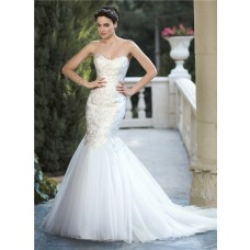 Fit And Flare Mermaid Strapless Tulle Applique Corset Wedding Dress