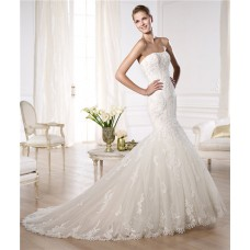 Fit And Flare Mermaid Strapless Tulle Lace Wedding Dress With Appliques