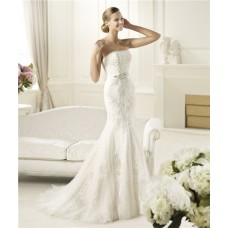 Fit And Flare Mermaid Strapless Tulle Lace Wedding Dress With Sash Bow