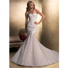 Fit And Flare Mermaid Sweetheart Beaded Lace Organza Wedding Dress With Sash