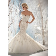 Fit And Flare Mermaid Sweetheart Cap Sleeve Open Back Tulle Embroidered Wedding Dress