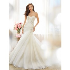 Fit And Flare Mermaid Sweetheart Draped Organza Crystal Wedding Dress Corset Back