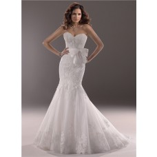 Fit And Flare Mermaid Sweetheart Lace Wedding Dress With Bow Belt