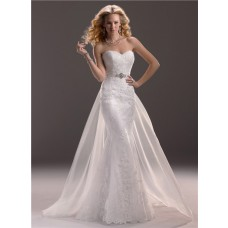 Fit And Flare Mermaid Sweetheart Lace Wedding Dress With Detachable Train