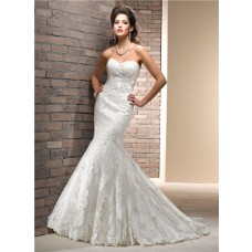 Fit And Flare Mermaid Sweetheart Lace Wedding Dress With Ribbon Sash