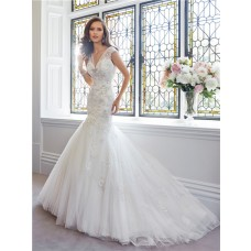 Fit And Flare Mermaid V Neckline And Back Cap Sleeve Tulle Lace Crystal Wedding Dress