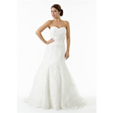 Fit And Flare Strapless Sweetheart Tulle Lace Beaded Corset Mermaid Wedding Dress