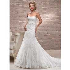Fit And Flare Sweetheart Neckline Scalloped Lace Wedding Dress With Floral Belt