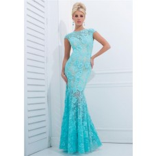 Fit And Flare Trumpet Mermaid Cap Sleeve Aqua Lace Beaded Long Prom Dress