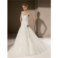 Fit And Flare Trumpet Sweetheart Neckline Sheer Back Lace Wedding Dress With Straps