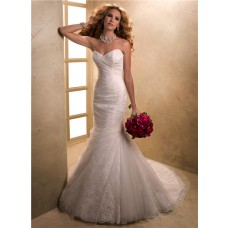 Fit Mermaid Sweetheart Lace Tulle Wedding Dress With Fishtail Corset Back