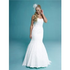 Fit Mermaid Trumpet Strapless Lace Corset Wedding Dress With Bow Sash