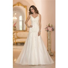 Fitted A Line Backless Ivory Satin Tulle Embroidery Wedding Dress With Straps