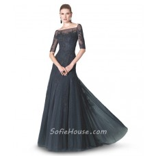 Fitted A Line Boat Neck Short Sleeve Black Tulle Lace Evening Dress