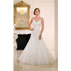 Fitted A Line Illusion Bateau Neckline Sheer Back Tulle Lace Wedding Dress