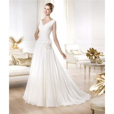 Fitted A Line Princess V Neck Draped Chiffon Wedding Dress With Flower