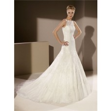 Fitted A Line Scalloped Neck Sleeveless Tulle Lace Wedding Dress With Buttons