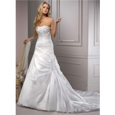 Fitted A Line Strapless Corset Back Ruched Organza Wedding Dress With Applique
