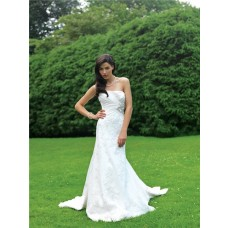 Fitted A Line Strapless Lace Garden Wedding Dress With Sparkle Sequins Ruching
