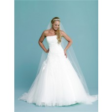 Fitted A Line Strapless Tulle Lace Applique Corset Wedding Dress Court Train