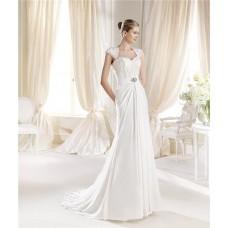 Fitted A Line Sweetheart Cap Sleeve Lace Chiffon Wedding Dress Open Back