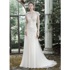 Fitted Bateau Cap Sleeve Illusion Back Champagne Colored Tulle Lace Wedding Dress