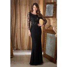 Fitted Boat Neck Open Back Black Chiffon Lace Evening Dress With Long Sleeves
