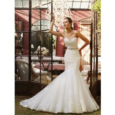 Fitted Flare Mermaid Sweetheart Tulle Lace Wedding Dress With Crystal Belt