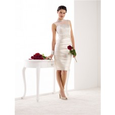 Fitted High Neck Illusion Back Satin Pleated Short Wedding Dress Beaded Sash
