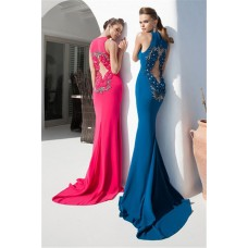 Fitted High Slit Long Teal Chiffon Prom Dress With Flowers Open Back