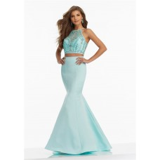 Fitted Mermaid Halter Two Piece Aqua Satin Tulle Beaded Prom Dress