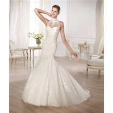 Fitted Mermaid High Neck See Through Beaded Lace Wedding Dress With Buttons