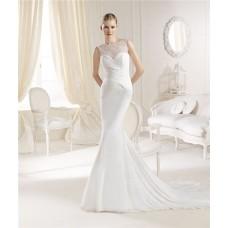 Fitted Mermaid Illusion Neckline Chiffon Ruched Wedding Dress