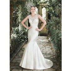 Fitted Mermaid Illusion See Through Back Champagne Satin Applique Wedding Dress