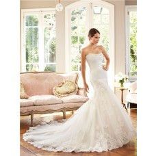 Fitted Mermaid Scoop Strapless Neckline Pleated Tulle Lace Wedding Dress Chapel Train