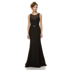 Fitted Mermaid Sheer Scoop Neckline Keyhole Back Long Black Chiffon Evening Bridesmaid Dress