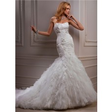 Fitted Mermaid Strapless Beaded Lace Tulle Wedding Dress With Flowers