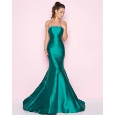 Fitted Mermaid Strapless Jade Satin Seamed Evening Prom Dress