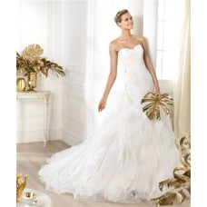Fitted Mermaid Sweetheart Lace layered Tulle Wedding Dress With Pearls