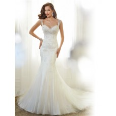 Fitted Mermaid Sweetheart Neckline V Back Organza Lace Beaded Wedding Dress Sheer Straps