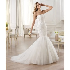 Fitted Mermaid /Trumpet Strapless Tulle Lace Wedding Dress With Buttons