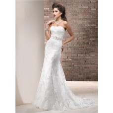 Fitted Sheath Strapless Lace Wedding Dress With Swarovski Crystals Sash