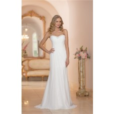 Fitted Strapless Chiffon Ruched Corset Destination Wedding Dress With Crystals