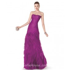 Fitted Strapless Long Fuchsia Ruched Tulle Ruffle Evening Dress