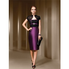 Fitted Strapless Purple Satin Black Lace Short Evening Wear Dress Bolero Jacket Sash