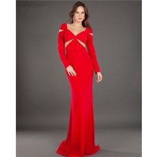 Fitted Sweetheart Cut Out Long Sleeve Red Evening Prom Dress