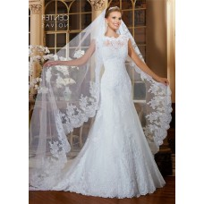 Fitted Trumpet High Neck Cap Sleeve Lace Wedding Dress With Jacket