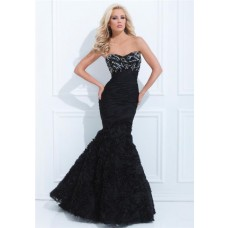 Fitted Trumpet Mermaid Sweetheart Neckline Black Chiffon Beaded Floral Evening Prom Dress