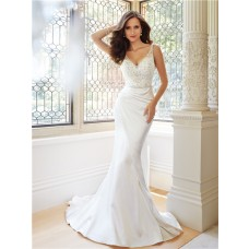 Fitted Trumpet Mermaid V Neckline And Back Satin Tulle Beaded Crystal Wedding Dress