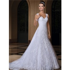 Fitted Trumpet Sleeveless Lace Wedding Dress With Detachable Train